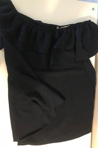 Camisa hombros descubiertos, talla M, azul marino
