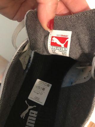 Zapatillas Puma, blancas, talla 39. Unisex.