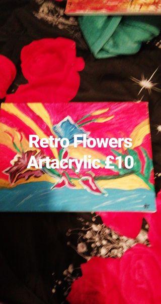Retro flowers Artacrilic painting