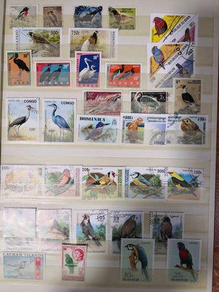 sellos de aves y dinosaurios