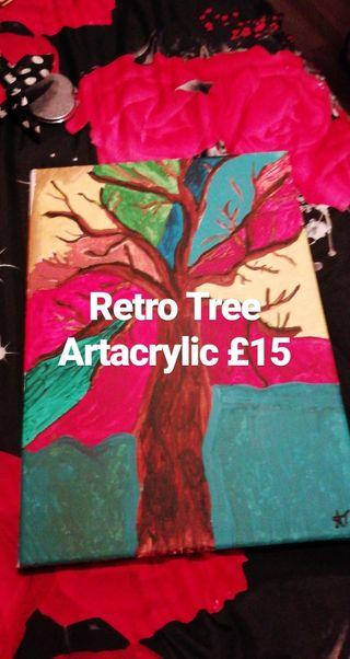 Retro Tree Artacrylic Painting