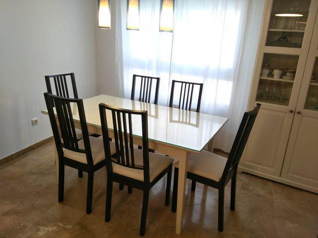 Mesa de comedor extensible de color blanco Ikea de segunda mano por ...
