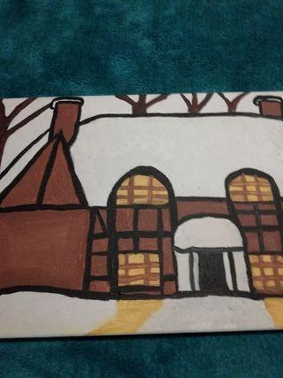 Snow House Artacrylic painting