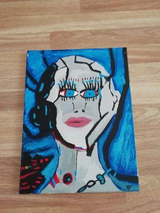 Robot Woman Artacrylic painting