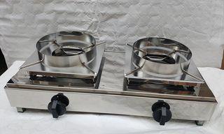 Encimera doble para wok
