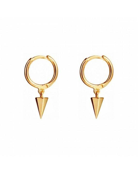 gold triangle hoops earrings BYLIA