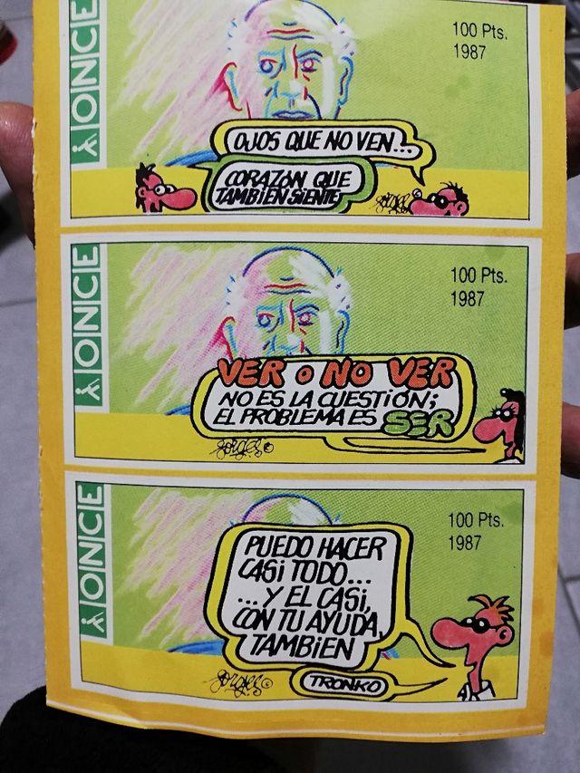 Pegatinas cupón Once dibujos Forges 1987
