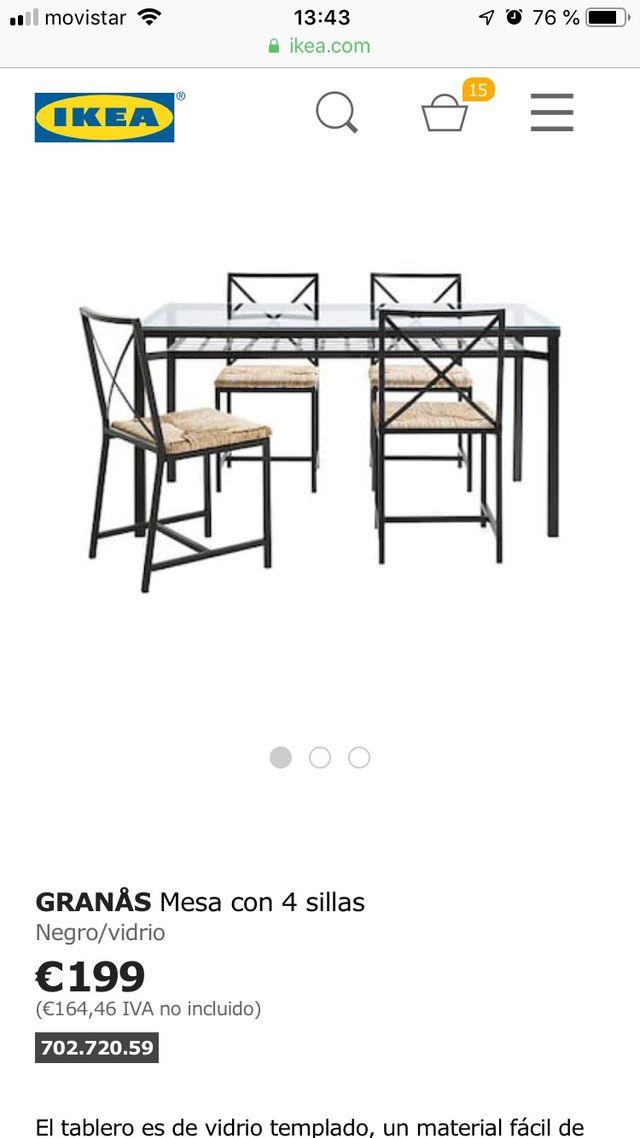 Conjunto mesa y sillas salón comedor / cocina ikea de segunda mano ...