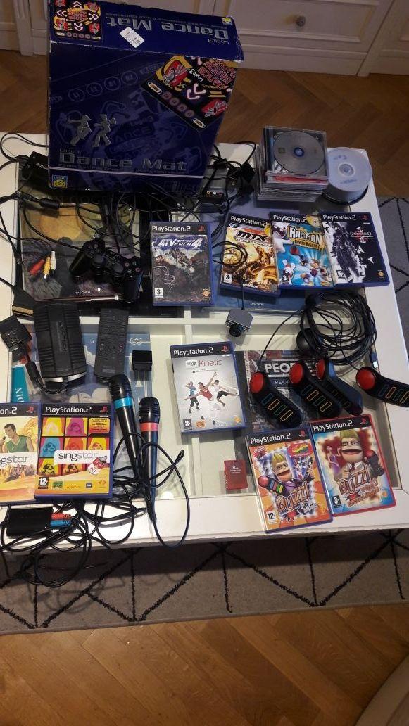 PS2 Buzz, Dance mat, eyetoy, multitap    de segunda mano por