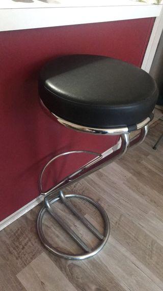 Chaise Bar en cuir noir