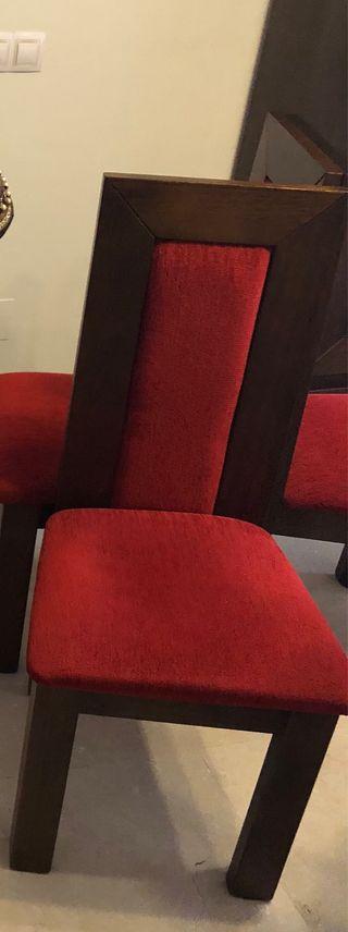 6 sillas madera y tela antimanchas