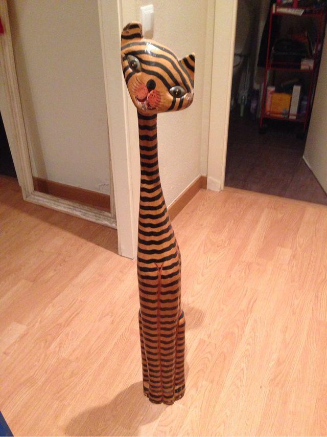 gato decorativo madera grande