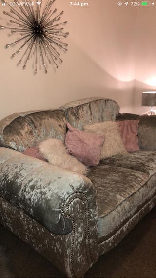 Crushed velvet sofa with love seat