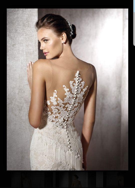 vestido de novia corte sirena, trompeta, encaje de segunda mano por