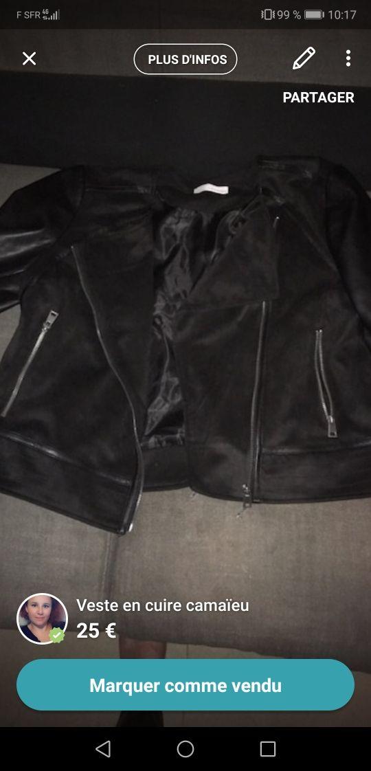 veste noir cuir et daim neuve