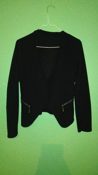 Zara Mujeres Chaqueta lino negra con cremalleras 51% Algodón