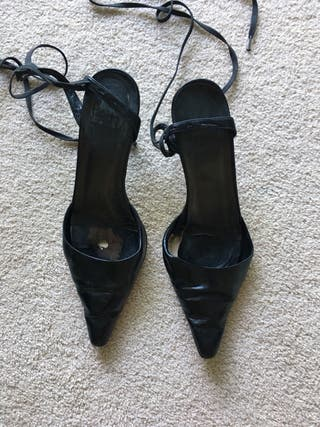 Zara black leather heels size 5 (38)