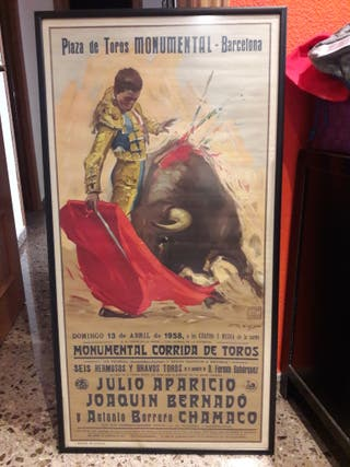 Cuadro cartel de toros 1958 enmarcado
