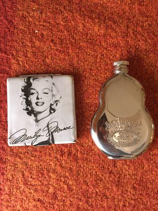 Petaca de Jack Daniel y Pitillera Marilyn Monroe
