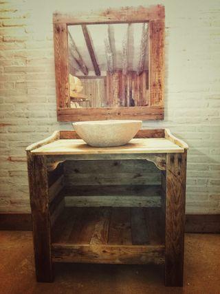 Mueble ba o con madera palet de segunda mano por 610 en for Confeccionamos muebles de bano en palet