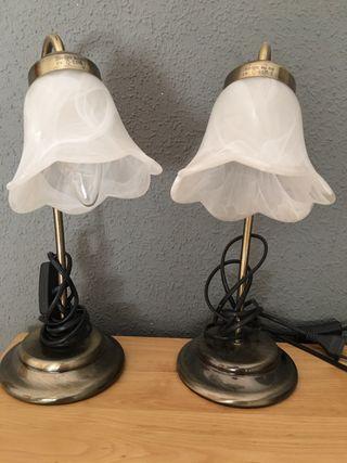 Lámparas de mesilla forja y cristal