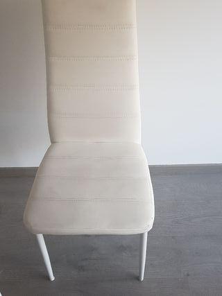4 sillas polipiel blancas
