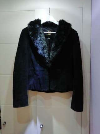 chaqueta ante negra mango talla