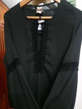Camisa nueva gris marengo con bordados