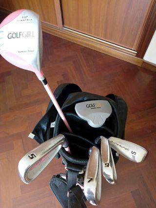 palos de golf con bolsa para niña de 8-10 años