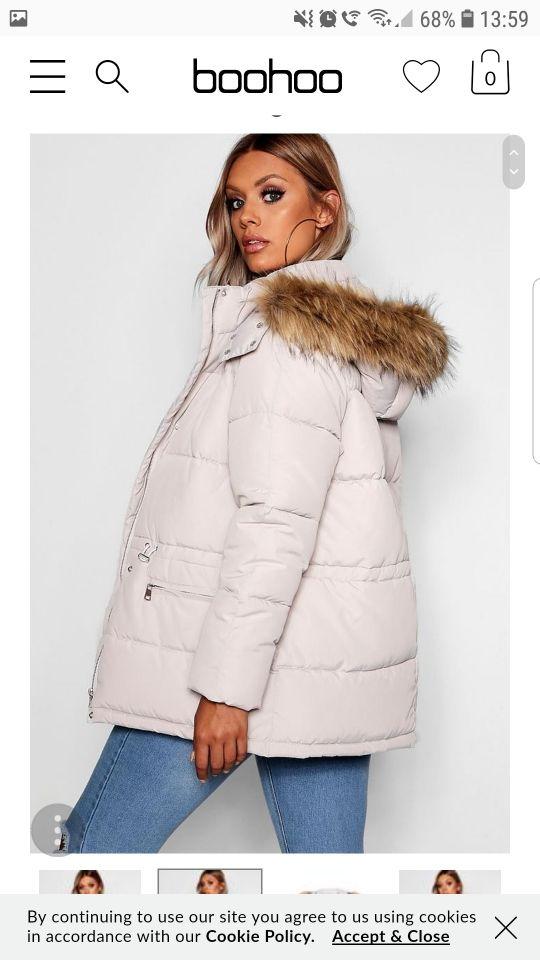 Boohoo Stone coloured puffer coat