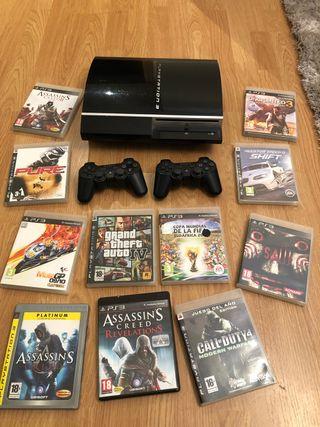 PlayStation 3 , 2 mandos dualshock , 11 juegos