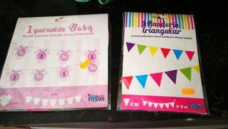 Guirnalda bebé niña 1 año + Banderines de colores
