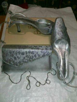 zapatos plateados N 38