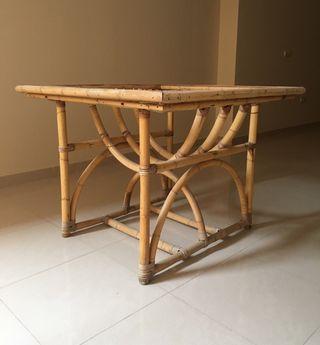 Mesa bambu rattan vintage