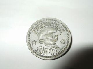 Moneda ficha 5 Pitufodolares de Apis