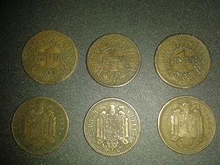 6 monedas de 1 peseta