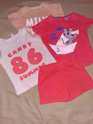 Lote 2 camisetas 1 de regalo y pantalón 2 años