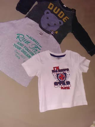 Lote sudadera 2 camisetas 12 m. 1 año niño