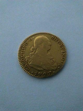 Moneda antigua oro, Carlos IIII,1797 Sevilla.
