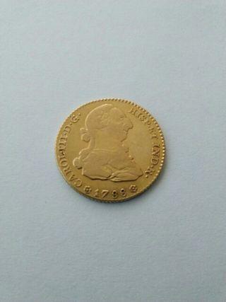 Moneda antigua de oro, Carlos III, Sevilla 1788.