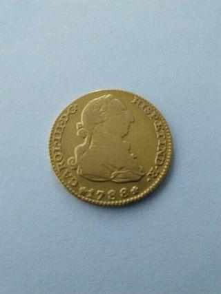 Moneda antigua de oro, Carlos III, 1788 Madrid.