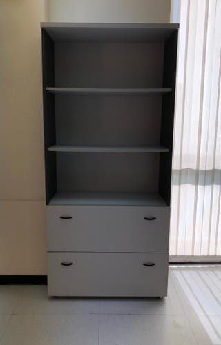 Mobiliario oficina. Librería con archivador.