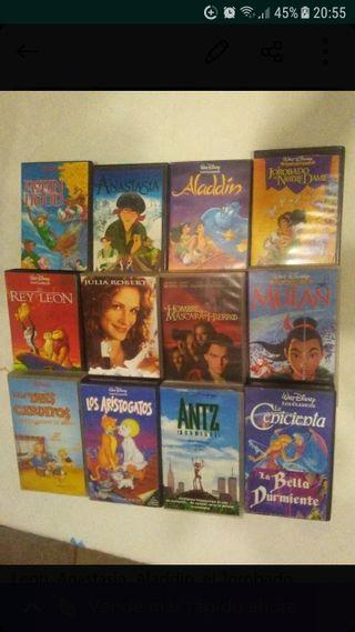12 Películas Originales para video VHS.