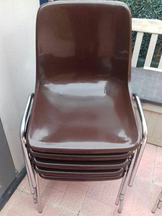 9 sillas color chocolate armazón plateado