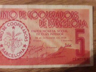 Billete 5 céntimos Unió de Cooperadors de Barcelon