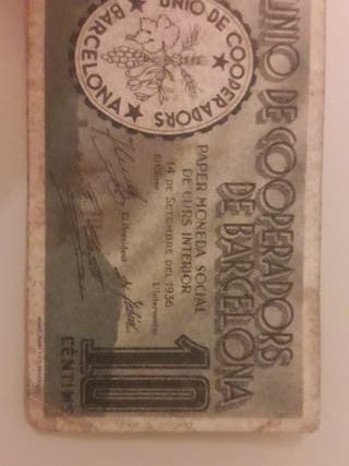 Billete 10 céntimos Unió de Cooperadors de Barcel