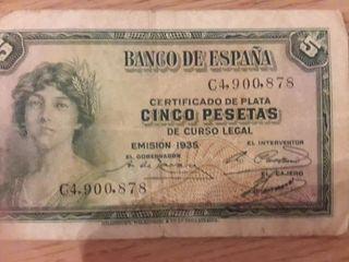 Billete 5 pesetas 1935