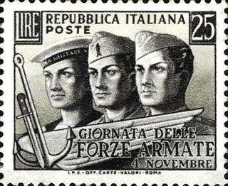 Sello italia de las fuerzas armadas año 1952