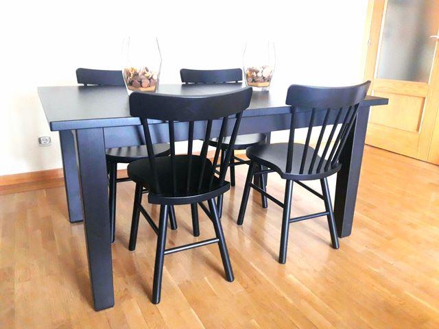 Mesa de comedor negra extensible STORNAS (Ikea) de segunda mano por ...