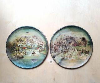 2 antiguas pinturas al oleo sobre platos de metal